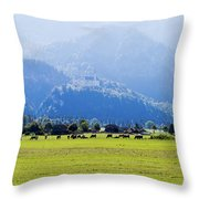 Castle And Cattle Throw Pillow