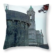 Castle And Church Athlone Ireland Throw Pillow