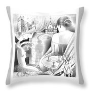 Castle And Memores Throw Pillow