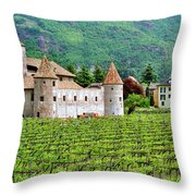 Castle And Vineyard In Italy Throw Pillow
