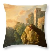Castle And Waterfall Throw Pillow