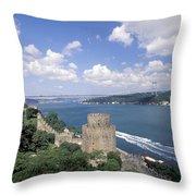 Castle At Rumelihisan Along Side Throw Pillow
