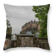 Castle Behind Cemetery Throw Pillow