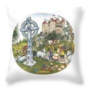 Castle Cross Circle Throw Pillow