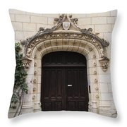 Castle Entrance Door Throw Pillow