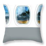 Castle Geyser Portholes Throw Pillow