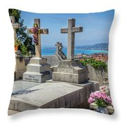Castle Hill Graves Overlooking Nice, France Throw Pillow