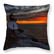 Castle Hill Lighthouse Sunset Throw Pillow