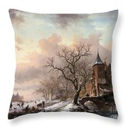 Castle In A Winter Landscape And Skaters On A Fozen River Throw Pillow