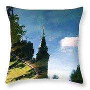 Castle In The Lake Throw Pillow