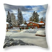 Castle Mountain Chalets Panorama Throw Pillow