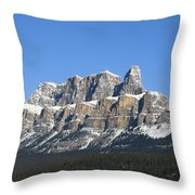 Castle Mountain Winter Throw Pillow