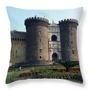Castle Nuovo Naples Italy Throw Pillow