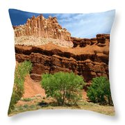 Castle Over Cottonwoods Throw Pillow