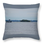 Castle Pinckney And Boat Throw Pillow