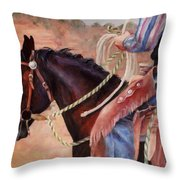 Castle Rock Buckaroo Western Cowboy Painting Throw Pillow