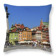 Castle Square And Sigismund's Column Warsaw Poland Throw Pillow