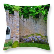 Castle Wall At The Highlands Throw Pillow