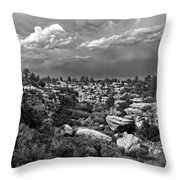 Castlewood Canyon And Storm - Black And White Throw Pillow
