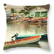 Castries Harbor Waterfront Throw Pillow