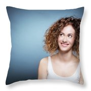 Casual Portrait Of A Cute, Authentic Girl. Throw Pillow