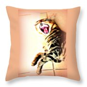 Cat Screaming To Me Throw Pillow