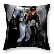 Cat And Bat Throw Pillow