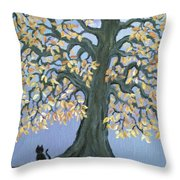 Cat And Crow Throw Pillow