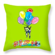 Cat And Fish Friend Throw Pillow
