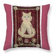 Cat And Flowers. Macrame Art Throw Pillow