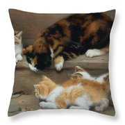 Cat And Kittens Chasing A Mouse   Throw Pillow by Rosa Jameson