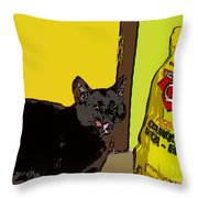 Cat And Rice Throw Pillow