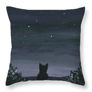 Cat And The Stars Throw Pillow