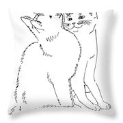 Cat-art-curious Throw Pillow