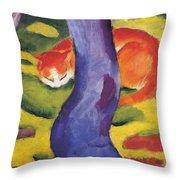 Cat Behind A Tree Throw Pillow
