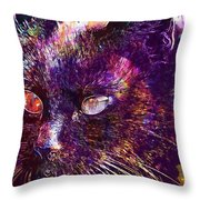 Cat Black View Close  Throw Pillow