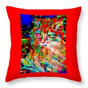 Cat By Fauvism Throw Pillow