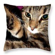 Cat Card Throw Pillow