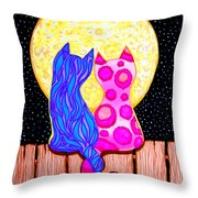 Cat Couple Full Moon Throw Pillow
