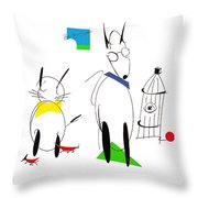 Cat, Dog, Hydrant Throw Pillow