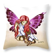 Cat Fairy In Purple  Throw Pillow