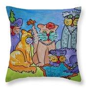 Cat Family Gathering Throw Pillow