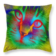 Cat Fluorescent Throw Pillow
