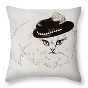 Snow White Wearing A Hat Throw Pillow