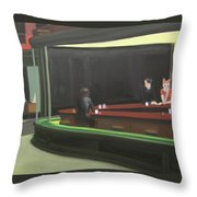 Cat Hawks At The Diner Throw Pillow