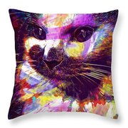 Cat Head Face Macro Close Up  Throw Pillow