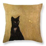 Cat In A Garden Throw Pillow