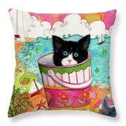 Cat In A Pail Throw Pillow