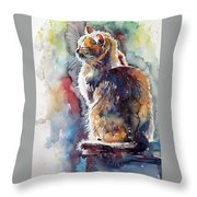 Cat In Backlight Throw Pillow