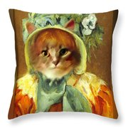 Cat In Bonnet Throw Pillow